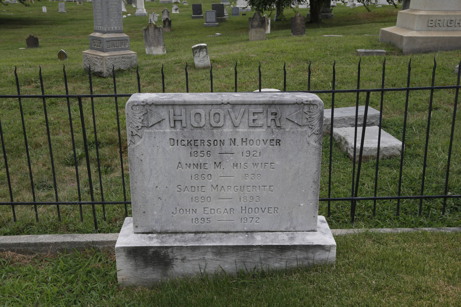 The grave of J. Edgar Hoover, the first Director of the Federal Bureau of Investigation (FBI), is seen at Congressional Cemetery in Washington, Wednesday, Aug. 7, 2013. (AP Photo/Charles Dharapak)