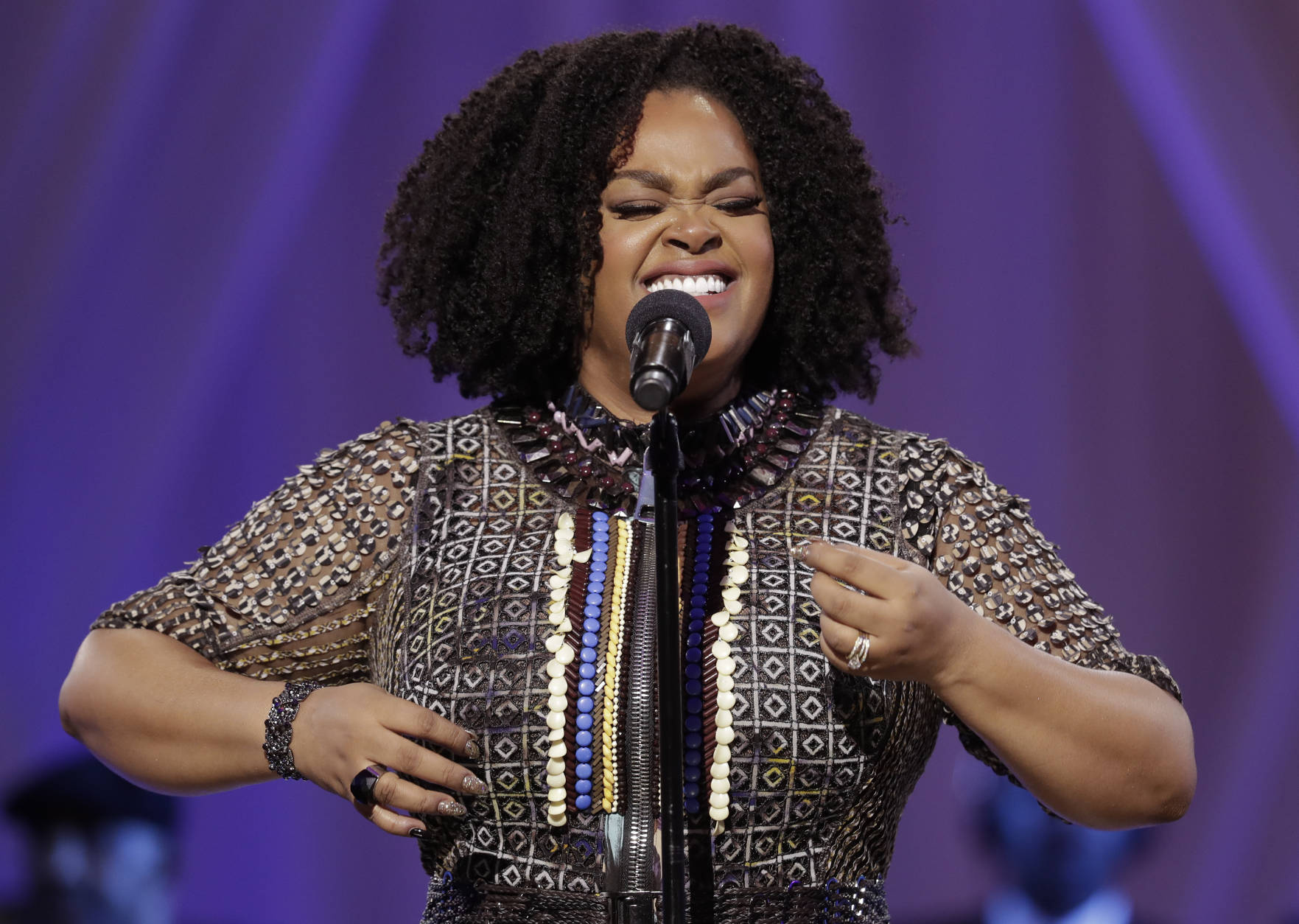 Jill Scott performs at a BET event on the South Lawn of the White House, in Washington, Friday, Oct. 21, 2016. (AP Photo/Carolyn Kaster)