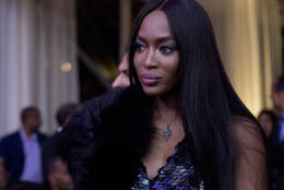 Model Naomi Campbell, center, arrives at a BET event hosted by President barack Obama and first lady Michelle Obama on the South Lawn of the White House, in Washington, Friday, Oct. 21, 2016. (AP Photo/Carolyn Kaster)