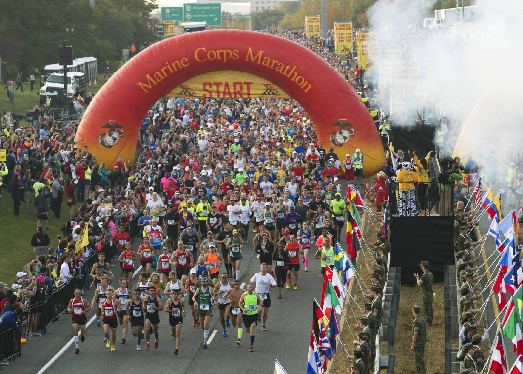 Runners start the 41st Marine Corps Marathon, Sunday, Oct. 30, 2016, in Arlington, Va. (AP Photo/Jose Luis Magana)