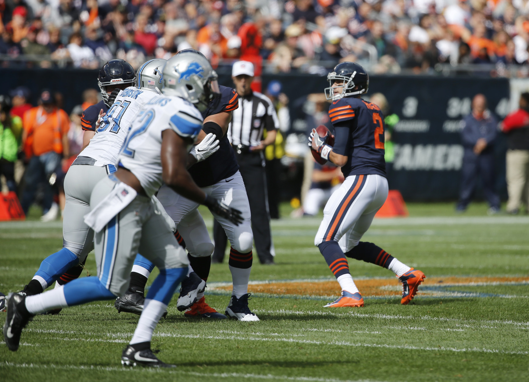 Chicago Bears quarterback Brian Hoyer (2) looks for a receiver during the first half of an NFL football game against the Detroit Lions, Sunday, Oct. 2, 2016, in Chicago. (AP Photo/Charles Rex Arbogast)