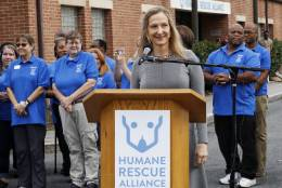 "LaFontaine made the announcement of the new name Monday at the Oglethorpe Street facility in Northwest D.C., home to what was the Washington Animal Rescue League.   ""We will be consolidating all of our operations into two campuses,"" she said.   (WTOP/Kate Ryan)"