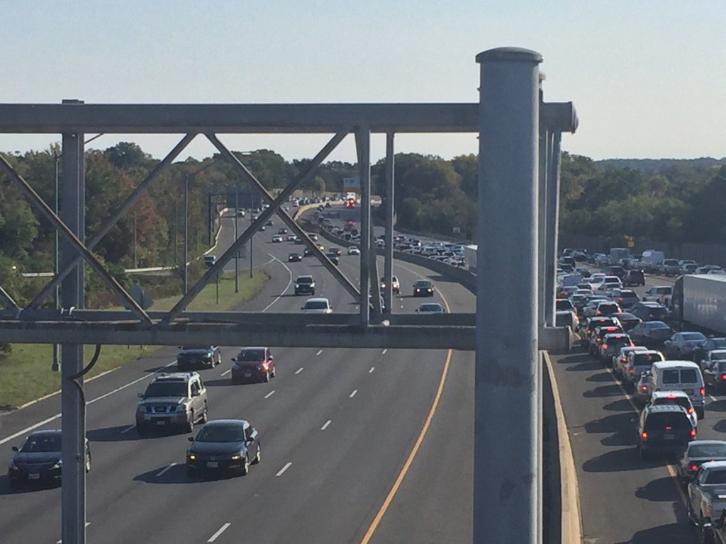WTOP's Dennis Foley reported that two left lanes on the Inner Loop of the Capital Beltway were getting by shortly after 10 a.m. Sunday, Oct. 23, 2016. (WTOP/Dennis Foley)