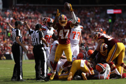 LANDOVER, MD - OCTOBER 2: Cornerback Quinton Dunbar #47 of the Washington Redskins celebrates after recovering a fumble against the Cleveland Browns in the third quarter at FedExField on October 2, 2016 in Landover, Maryland. (Photo by Patrick Smith/Getty Images)