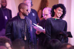 """WASHINGTON, DC - OCTOBER 21:  Music artist Usher (L) arrives for the BET's 'Love and Happiness: A Musical Experience"""" in a tent on the South Lawn of the White House October 21, 2016 in Washington, DC. The show will feature performances by Usher, Jill Scott, Common, The Roots, Bell Biv DeVoe, Janelle Monae, De La Soul, Yolanda Adams, Michelle Williams and Kiki Sheard, along will appearances by actors Samuel L. Jackson, Jesse Williams and Angela Bassett.  (Photo by Chip Somodevilla/Getty Images)"""