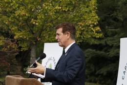 VA Congressman Don Beyer speaks to gathering at Capital Trails Coalition announcement