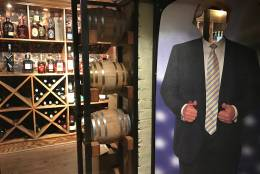 Barrel, a whiskey-fueled restaurant on Pennsylvania Avenue, transformed its basement lounge into a Trump-themed tavern. (WTOP/Rachel Nania)