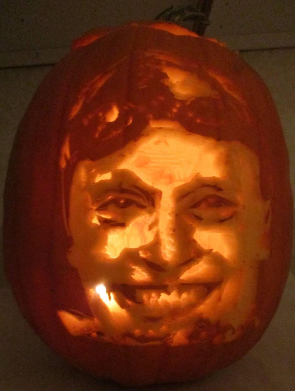Suzy Mink's pumpkin carving of Olympian Katie Ledecky. (Courtesy Suzy Mink)