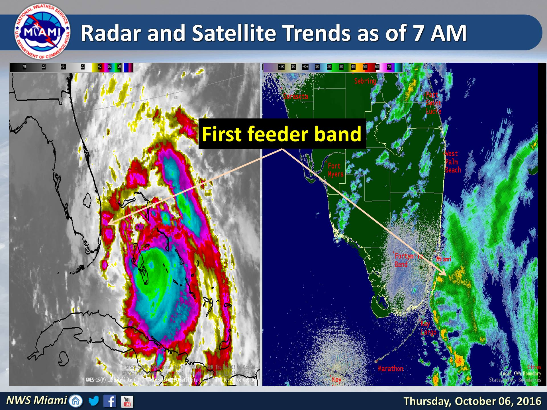 Radar as of Thursday morning shows rain bands already moving into portions of south Florida while Matthew pushes towards the Bahamas. (NWS Miami)