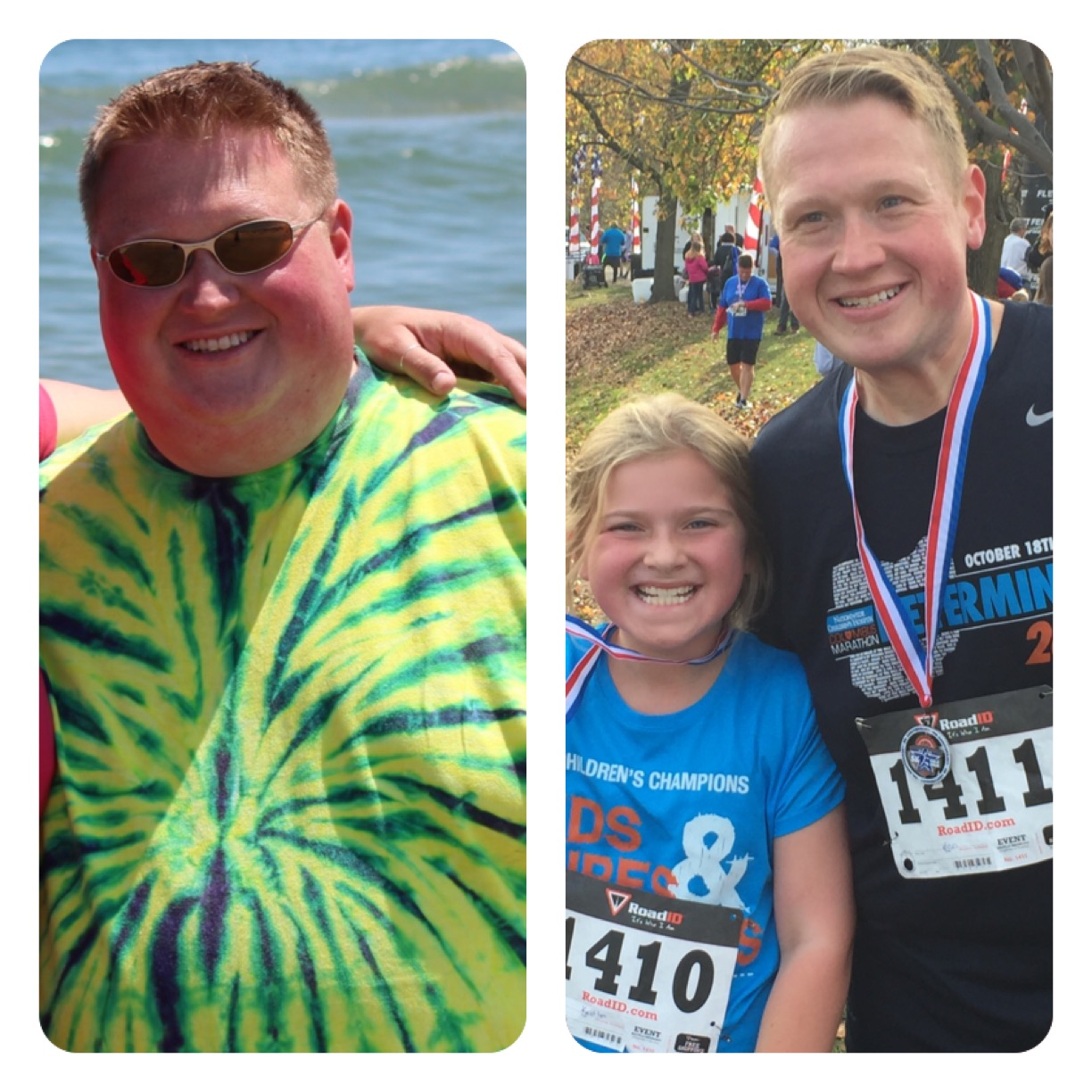 This before-and-after photo shows Ron Allison at his heaviest -- around 320 pounds in August 2013, and in November 2015 with his 9-year-old daughter, Kaidlyn.  To date, he has lost nearly half his original body weight. (Courtesy of Ron Allison)