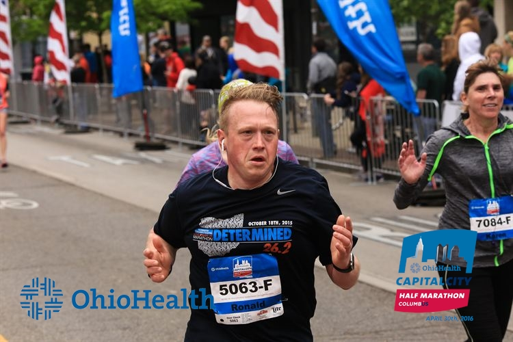 """Ron finished the Capital City Half Marathon on April 30, 2016. His message to others who are struggling with weight loss is """"just start. I tell people that all the time. If you're eating bad right now, just start eating better. If you're not active, just start walking. I think your body will naturally take you there."""" (Courtesy of Robb McCormick Photography / CapCity Sports Media)"""