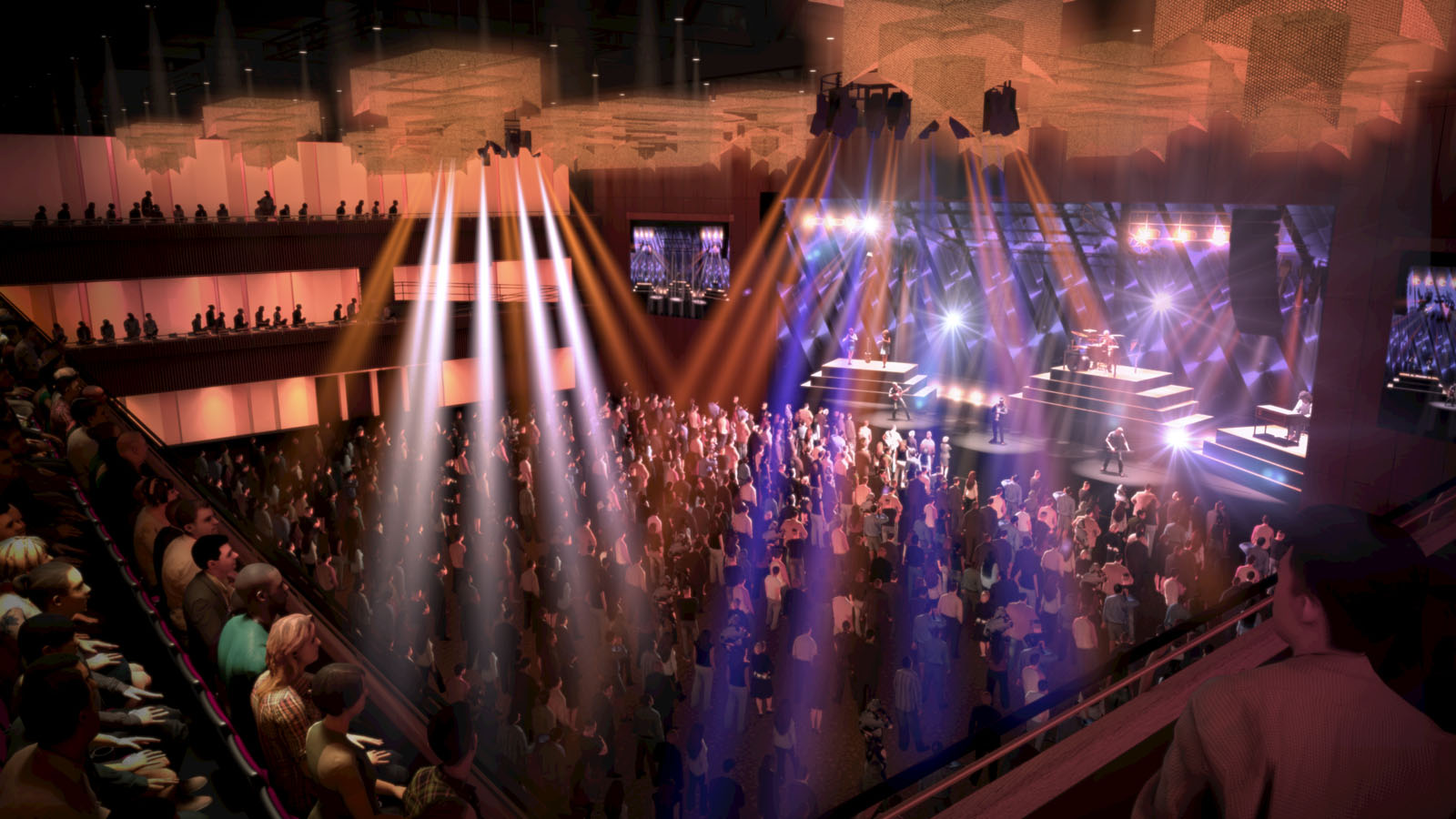 This artists rendering shows the 3,000-seat theater venue inside the casino and resort. The venue can be reconfigured for fights, concerts or other special events. (Courtesy MGM National Harbor)