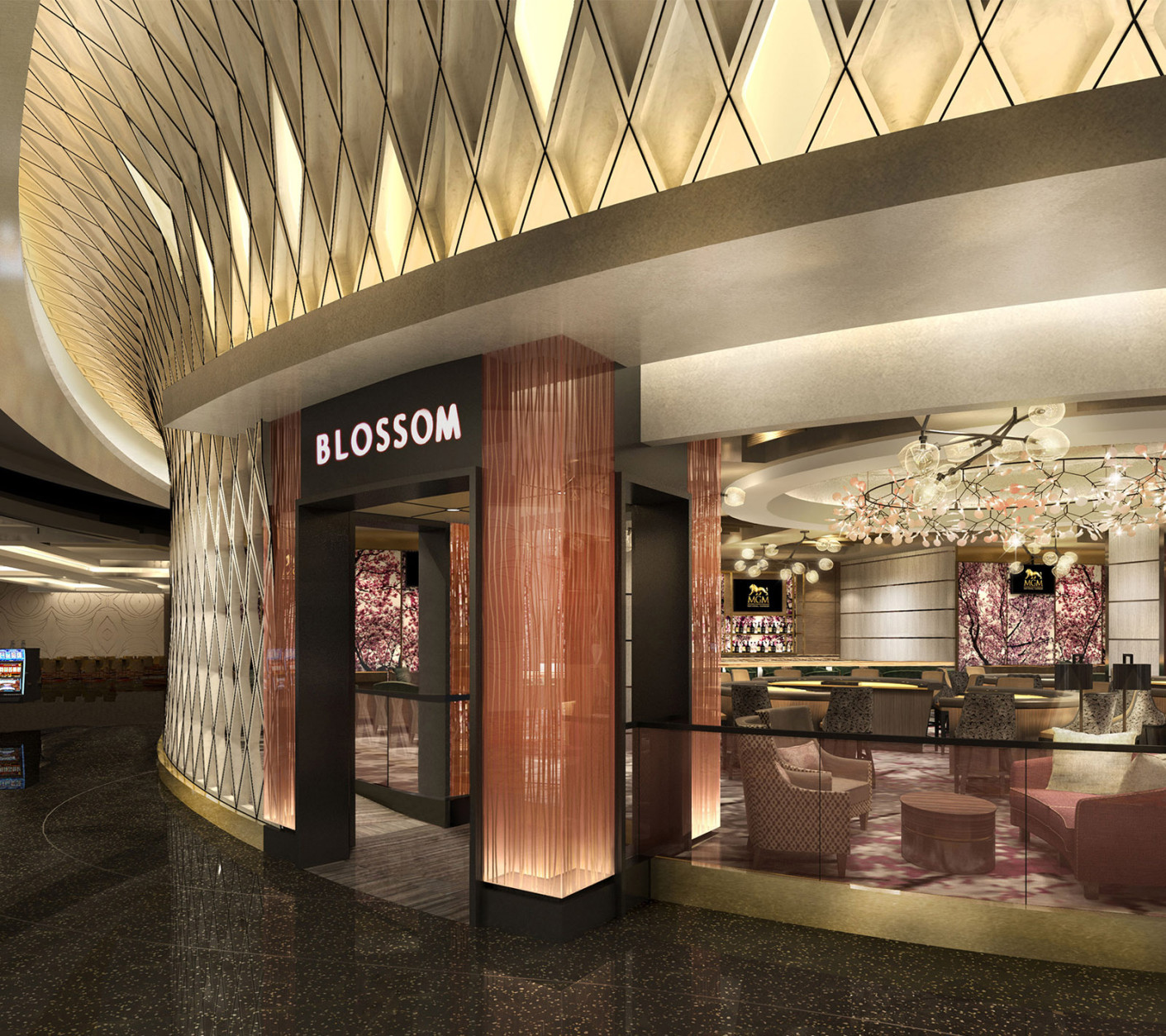 This artists rendering shows the Blossom Cocktail Lounge was inspired by the District's famous chery blossoms. A second venue, called Felt Bar & Lounge also will offer cocktails. (Courtesy MGM National Harbor)