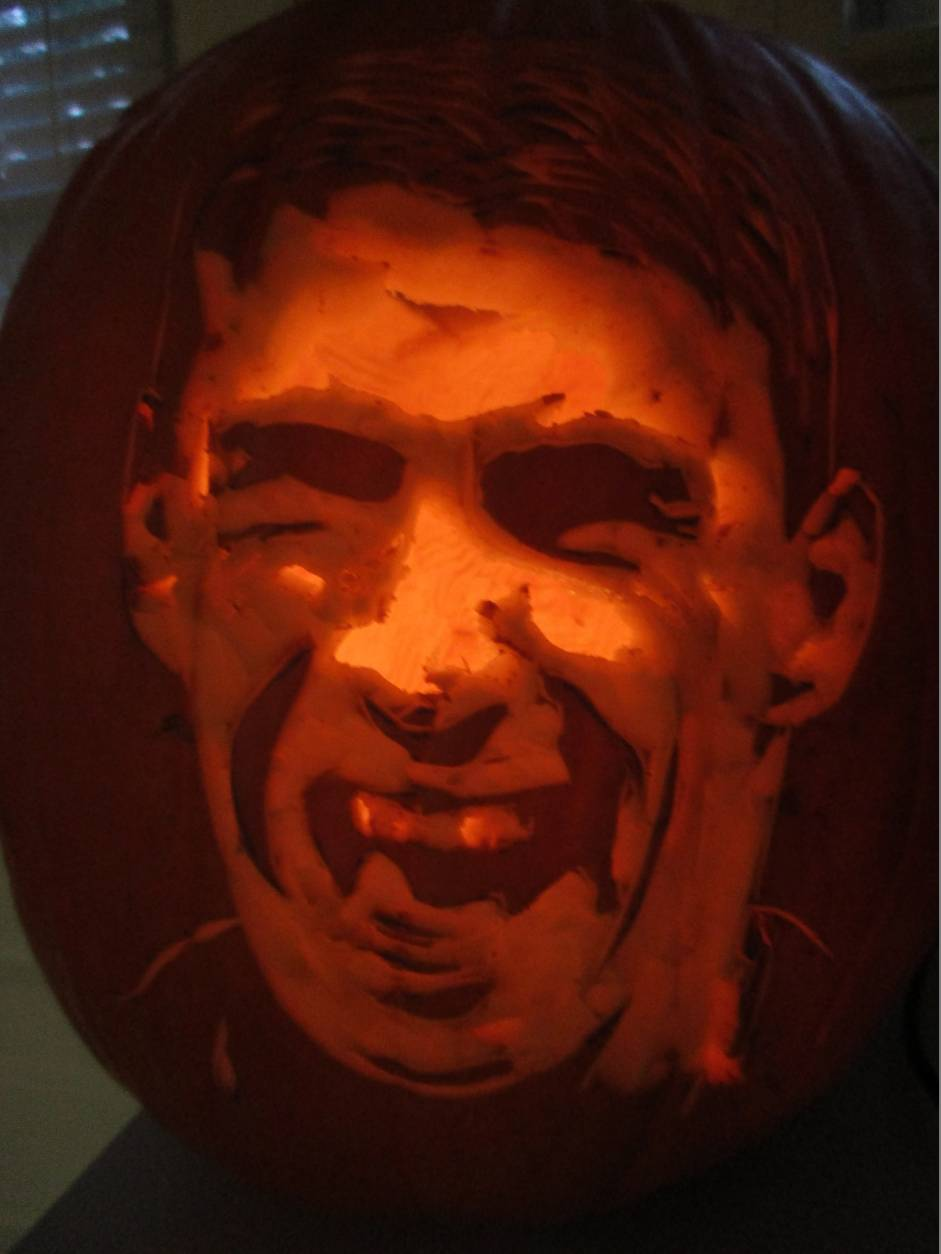 No Michael Phelps glare here! He's all smiles on this pumpkin. (Courtesy Suzy Mink)