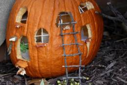 This pumpkin has windows with miniature panes made of toothpicks. Small ledges protrude from the windows and there's a teeny tiny ladder made out of twigs leaning up against one of the windows. (WTOP/Kate Ryan)