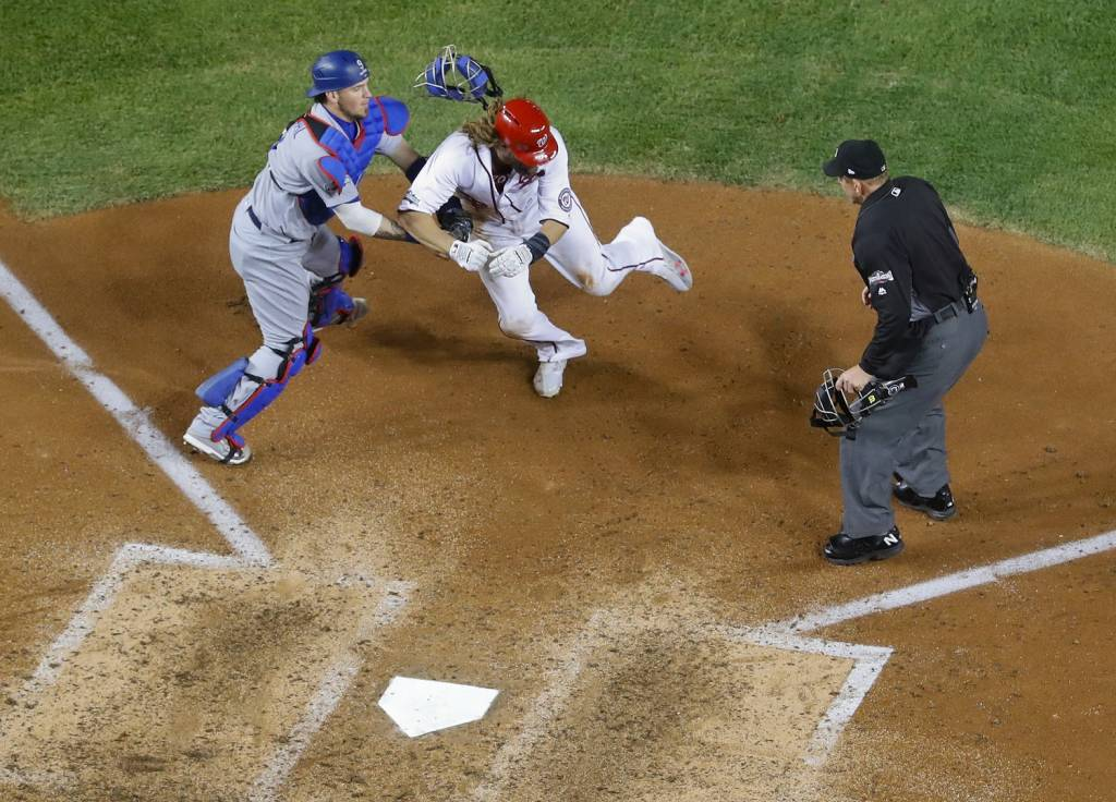 The game shifted when Jayson Werth was sent home and tagged out to end the sixth inning. (AP Photo/Pablo Martinez Monsivais)