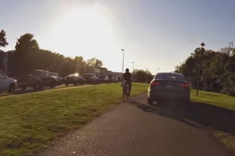Driver uses bike path in Va., avoids rush-hour traffic (Video)