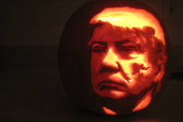 Mink's carving of Republican presidential candidate Donald Trump. (Courtesy Suzy Mink)