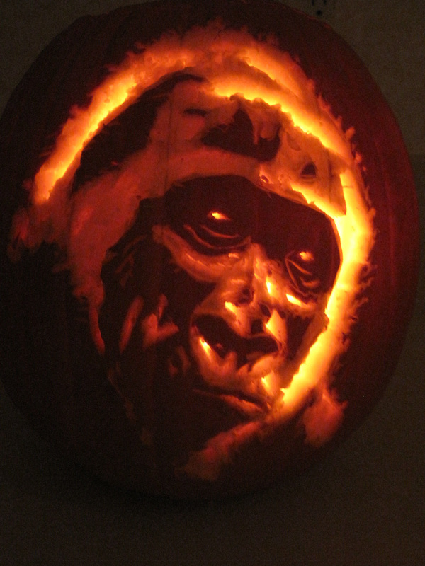 Here, a gorilla's face glows from a carved pumpkin. (Courtesy Suzy Mink)