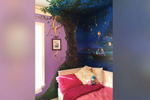 Mom paints mural inspired by 'Tangled' on daughter's wall