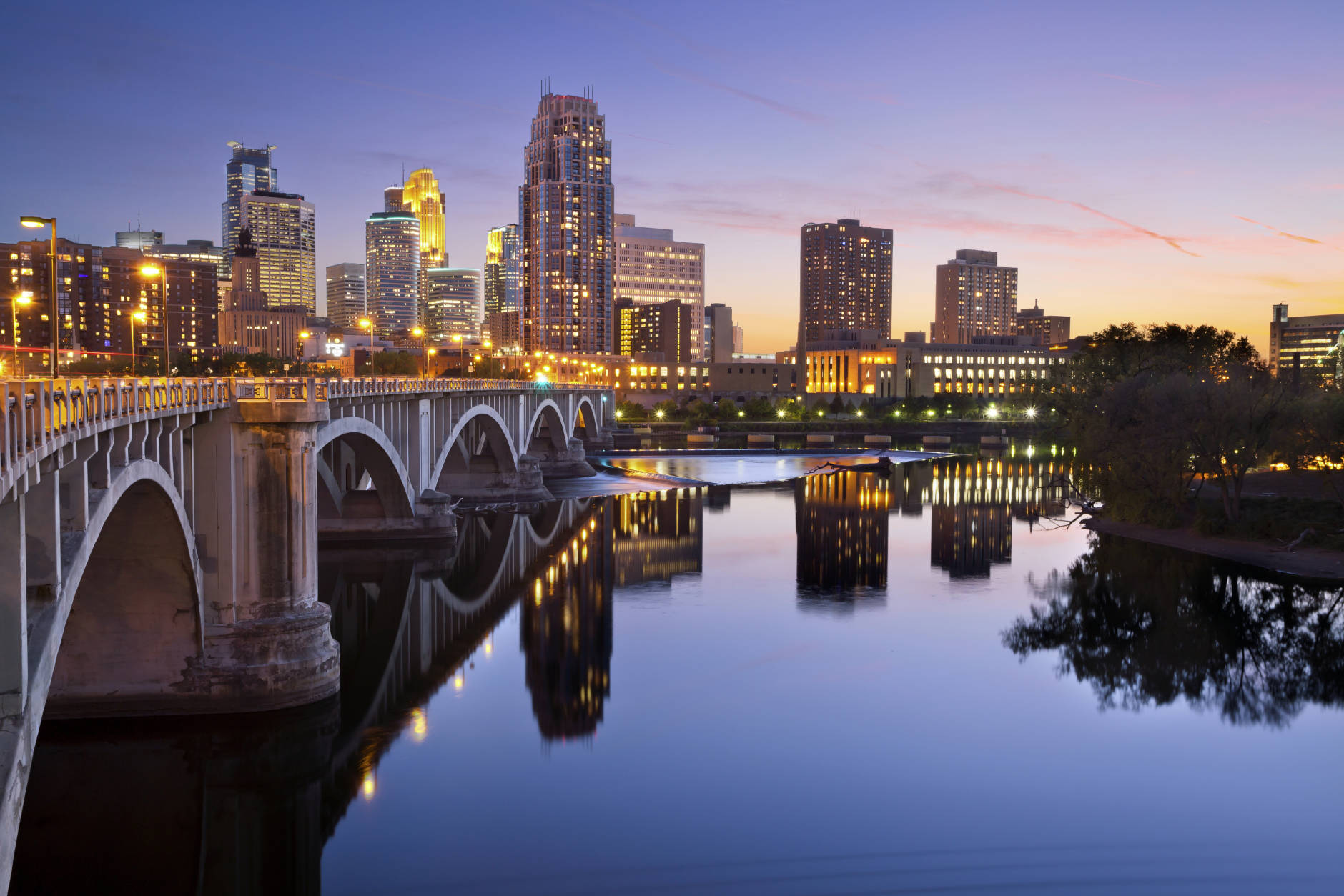 """14. Minneapolis, Minnesota  The Land of 10,000 Lakes' most populous city lands at No. 14 in Condé Nast Traveler's """"The Best Big Cities in the U.S."""" With abundant culture and outdoor life, there is much to do here all-year round. Even in the winter. (Getty Images/iStockphoto/RudyBalasko)"""