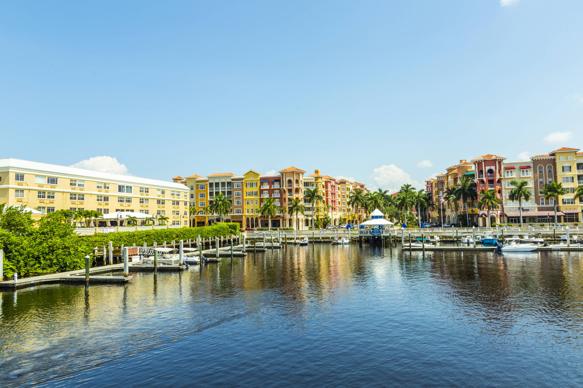 8. Naples, Florida  Colorful Spanish influenced buildings overlooking the water are some of the scenes in Naples, Florida. (Getty Images/iStockphoto/Meinzahn)