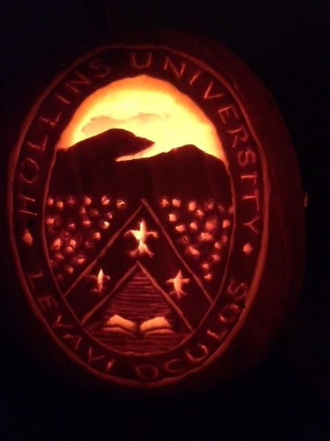The seal of Hollins University, carved into a pumpkin. (Courtesy Suzy Mink)