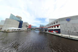 This screengrab shows one of the views of Baltimore's Inner Harbor in a new virtual tour of the waterway. The Chesapeake Conservancy teamed up again with Richmond-based Terrain360 to creat the tour. (Courtesy Chesapeake Conservancy and Terrain360)
