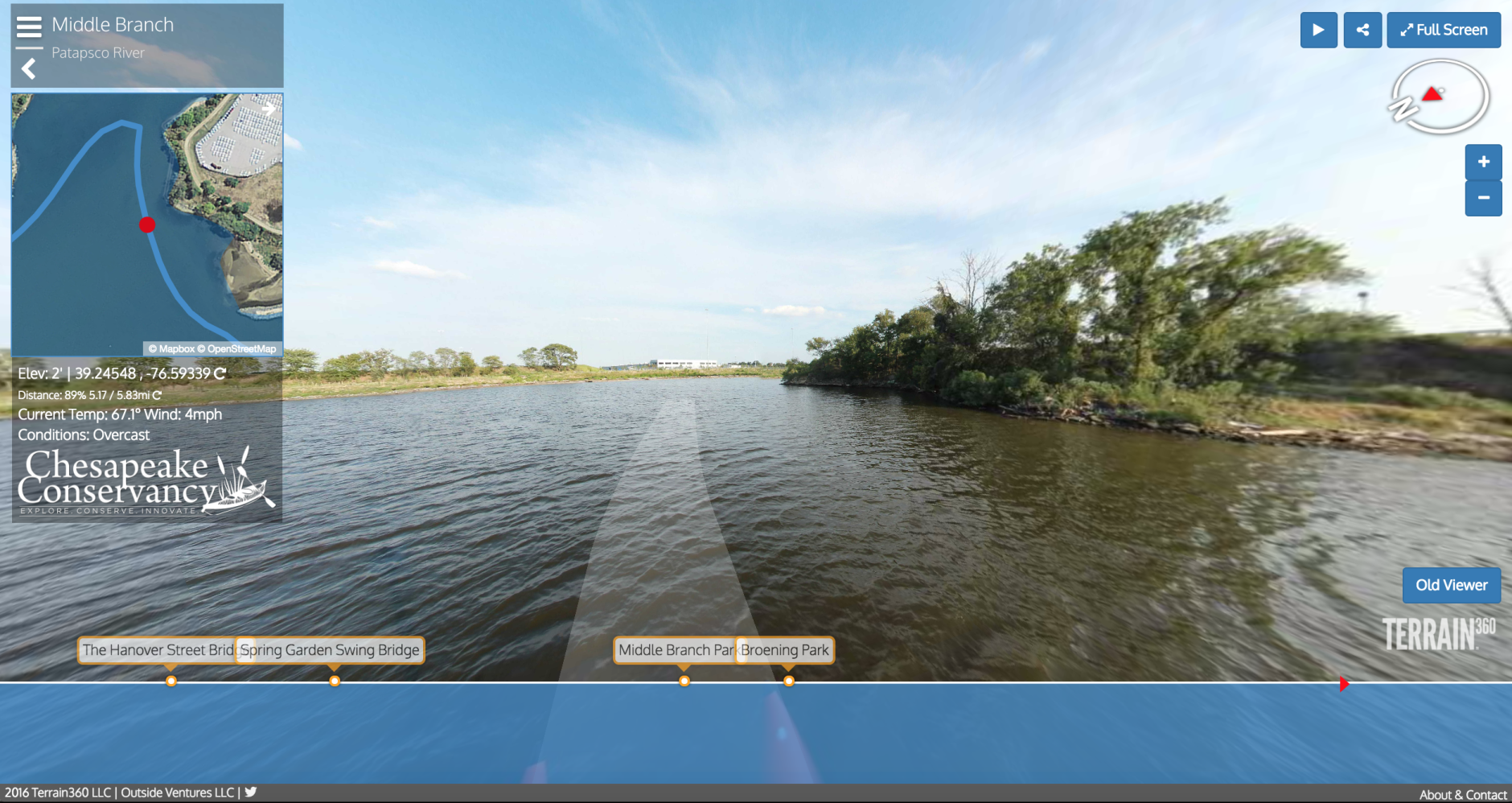 This screengrab shows a view of the Patapsco River virtual tour now available through the Chesapeake Conservancy and Terrain360. The conservancy teamed up with the Richmond firm to create a new set of virtual tours adding to the collection of waterways that feed into the bay. (Courtesy Chesapeake Conservancy and Terrain360)