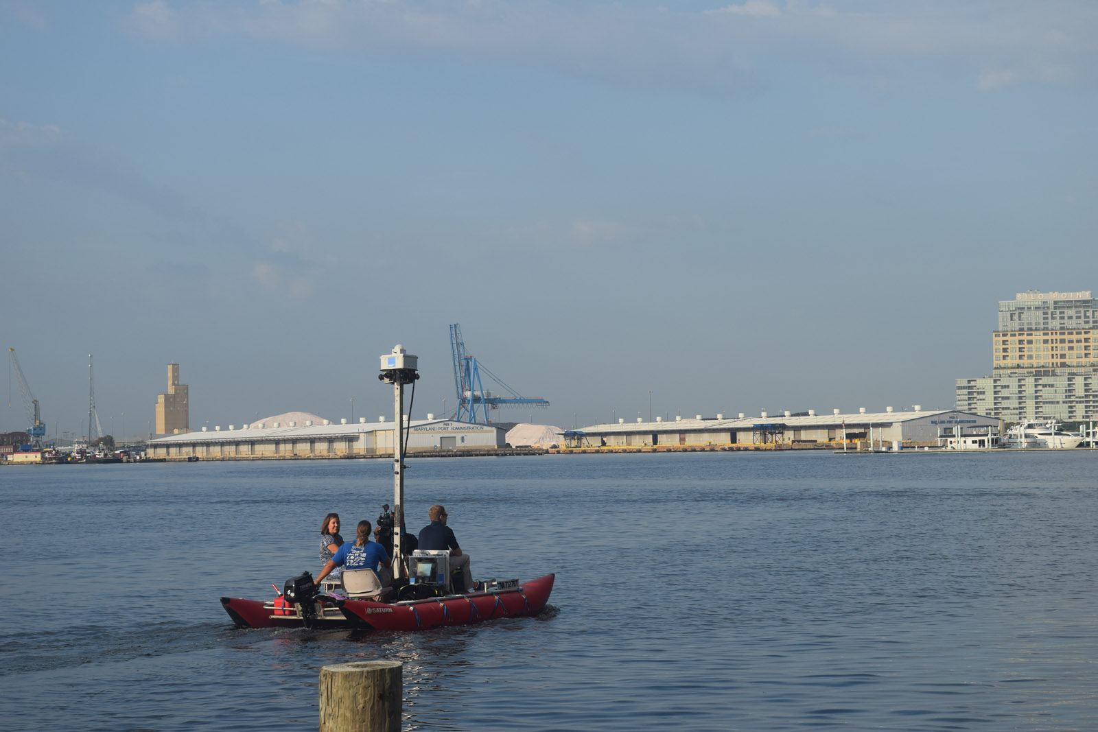A digital camera takes high resolution images of Baltimore's Inner Harbor as part of a project to create a virtual tour of the waterway for the Chesapeake Conservancy. The conservancy has created similar tours for other waterways that feed into the bay. (Courtesy Chesapeake Conservancy)