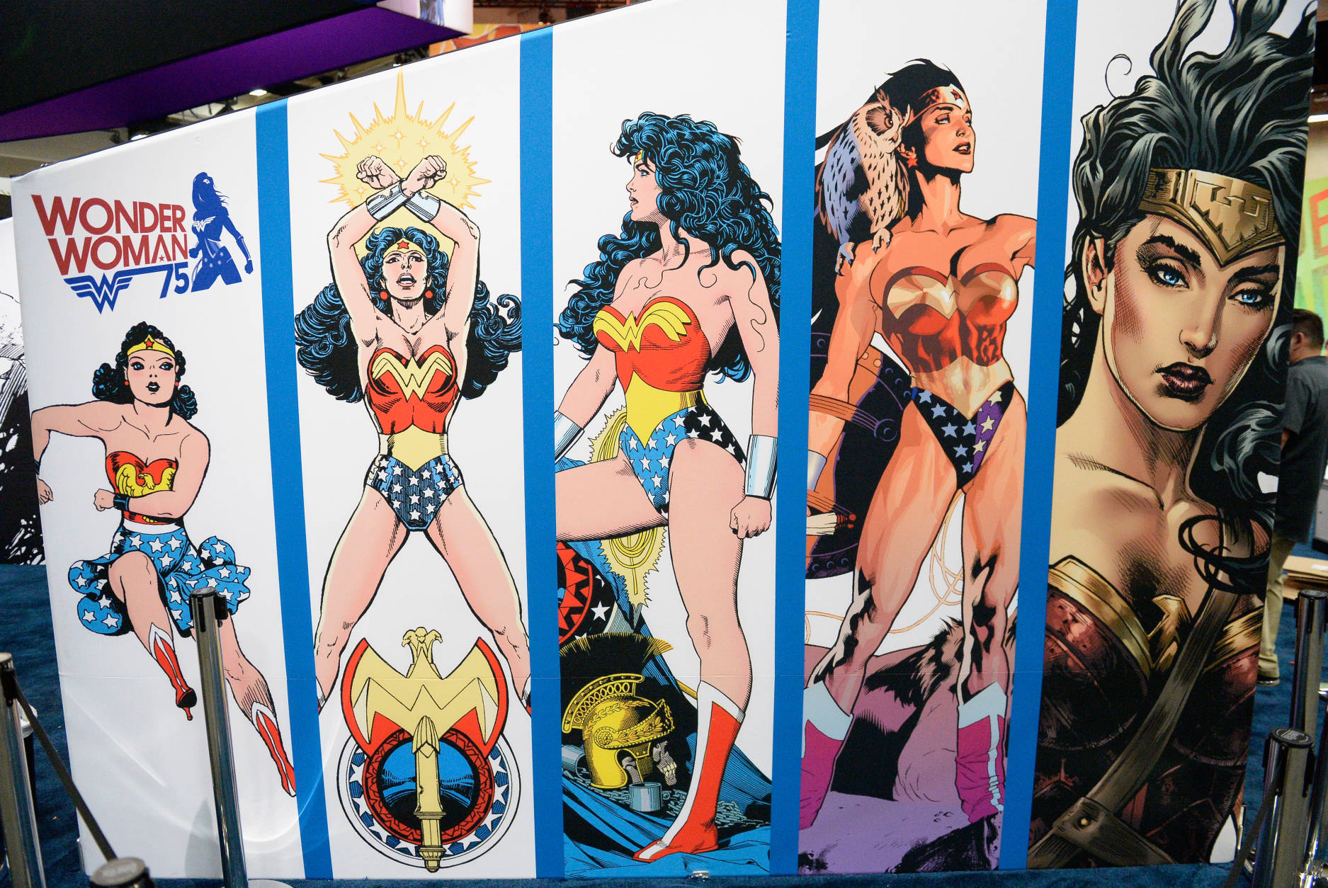 SAN DIEGO, CA - JULY 20:  Wonder Woman display at Comic-Con International 2016 preview night on July 20, 2016 in San Diego, California.  (Photo by Matt Cowan/Getty Images)
