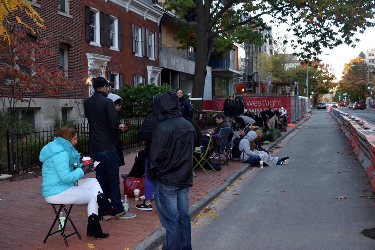 Potential buyers, brokers and line-standers waited in line overnight for a chance at one of 20 luxury condos in D.C.'s  West End neighborhood. (Courtesy Matt Hagan/Bulldog Public Relations)