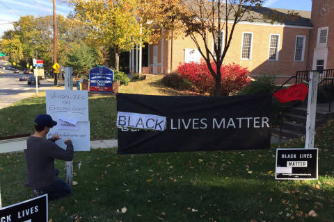 'Black Lives Matter' sign at Silver Spring church vandalized on election night