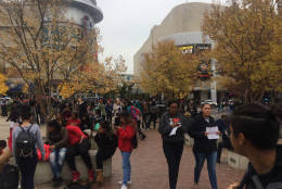 Montgomery County high school students who left class to protest President-elect Donald Trump end their march in downtown Silver Spring, Md. on Nov. 14, 2016. (WTOP/Dick Uliano)