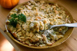 This Sept. 14, 2015 photo shows Thanksgiving oyster dressing in Concord, N.H. This dish is from a recipe by Elizabeth Karmel. (AP Photo/Matthew Mead)