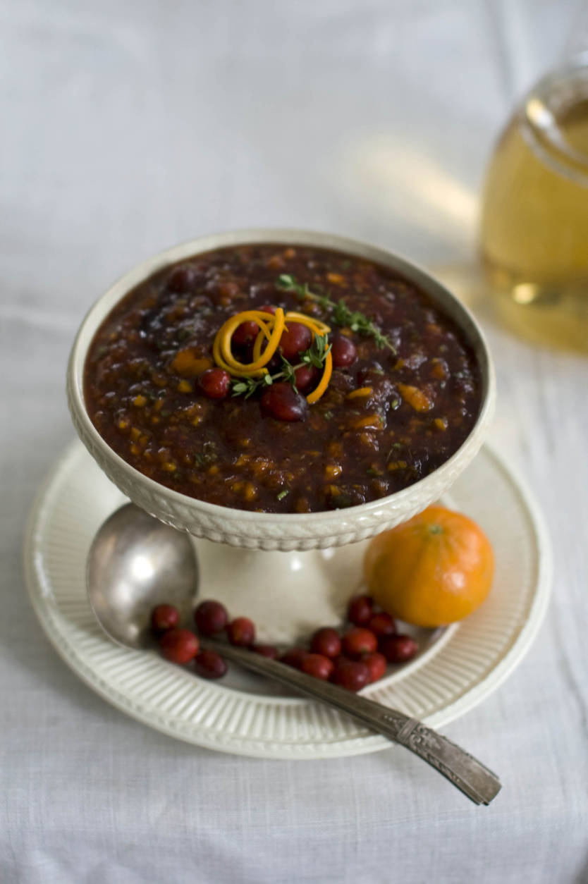 This Oct. 13, 2011 photo shows citrus herb cranberry sauce in Concord, N.H. This cranberry sauce recipe uses clementines for a citrus flair. (AP Photo/Matthew Mead)