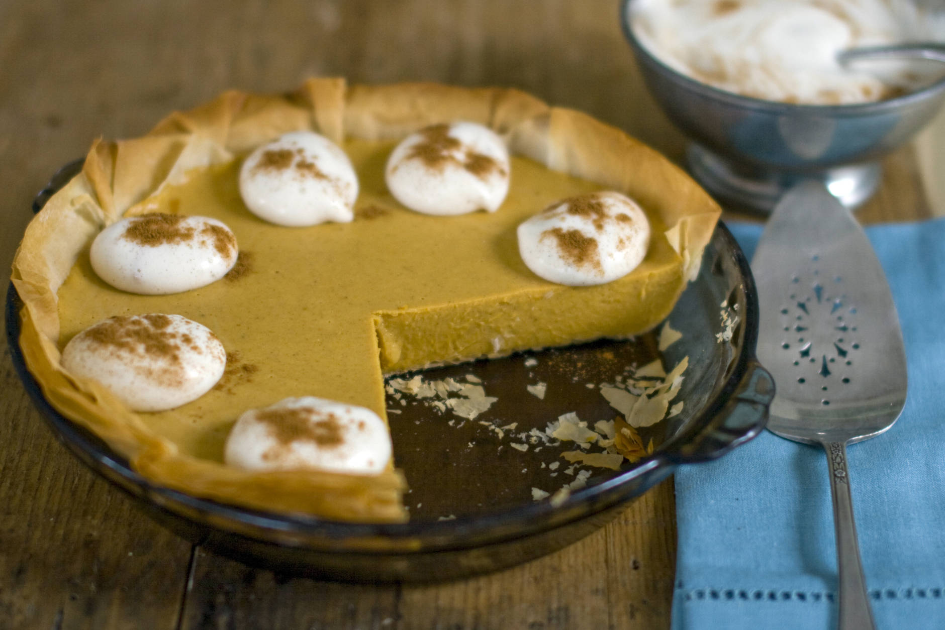 This Oct. 17, 2011 photo shows pumpkin pie with whipped cream in Concord, N.H. This recipe, from Rocco DiSpirito, can be made a day in advance of your Thanksgiving feast.    (AP Photo/Matthew Mead)