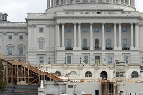 Inauguration prep underway: Parade stands take shape