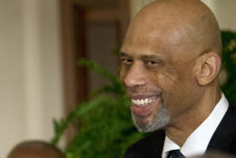 FILE - In this Jan. 30, 2015 file photo, former NBA basketball player Kareem Abdul Jabbar is seen in the East Room of the White House in Washington. President Barack Obama is honoring Abdul-Jabbar, Cicely Tyson, Tom Hanks, Michael Jordan and others with the Presidential Medal of Freedom, the nation's highest civilian honor.  (AP Photo/Pablo Martinez Monsivais, File)