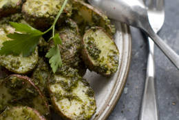 This Feb. 3, 2014 photo shows roasted green potatoes in Concord, N.H. (AP Photo/Matthew Mead)