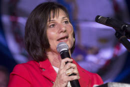 Democrat LuAnn Bennett 10th district congressional candidate concedes in her race to Republican Barbara Comstock during an election party in Falls Church, Va., Tuesday, Nov. 8, 2016.   (AP Photo/Steve Helber)