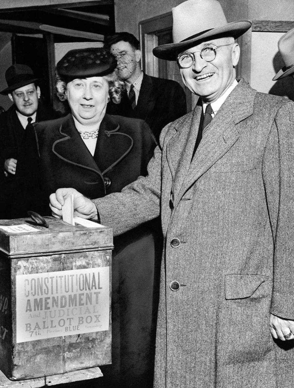 Sen. Harry S. Truman, Democratic vice presidential candidate, and Mrs. Bess Truman cast their vote Independence, Mo., on Nov. 7, 1944. (AP Photo)