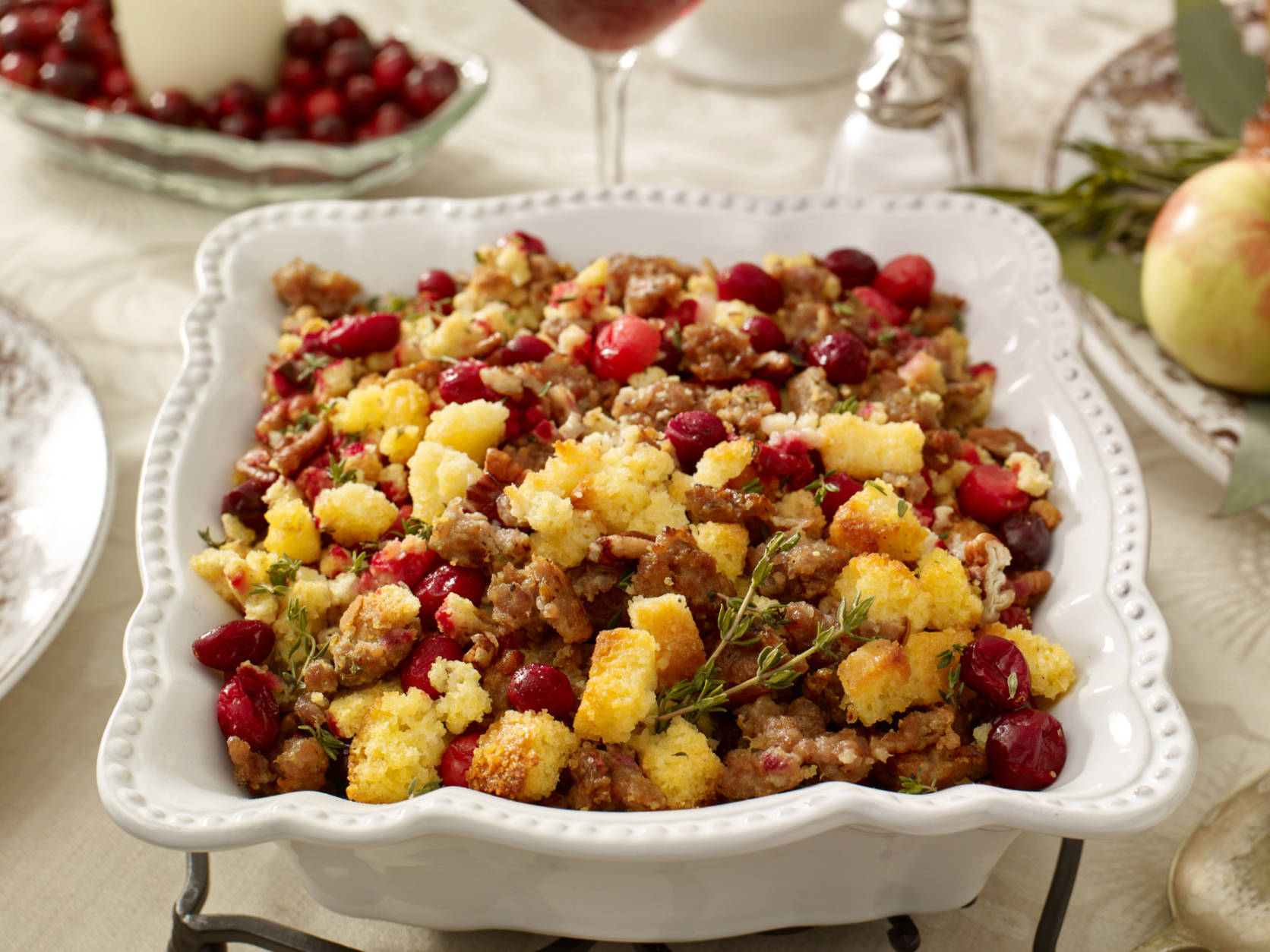 IMAGE DISTRIBUTED FOR OCEAN SPRAY - Try adding fresh cranberries for a twist on Cornbread Stuffing this Thanksgiving. For the full recipe, visit http://www.oceanspray.com/FamilyAffair/. (Ocean Spray via AP Images)