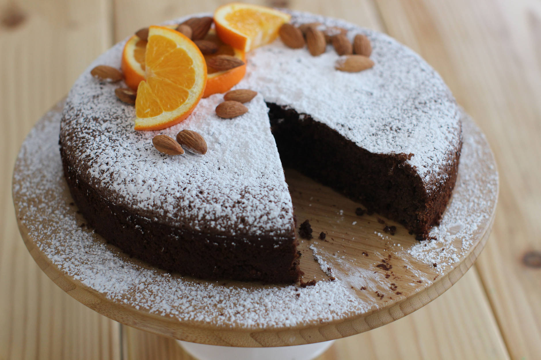 This Feb. 2, 2015 photo shows black cardamom orange flourless chocolate cake in Concord, N.H. (AP Photo/Matthew Mead)