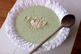 This Nov. 2, 2015, photo, shows broccoli soup in Concord, N.H. (AP Photo/Matthew Mead)