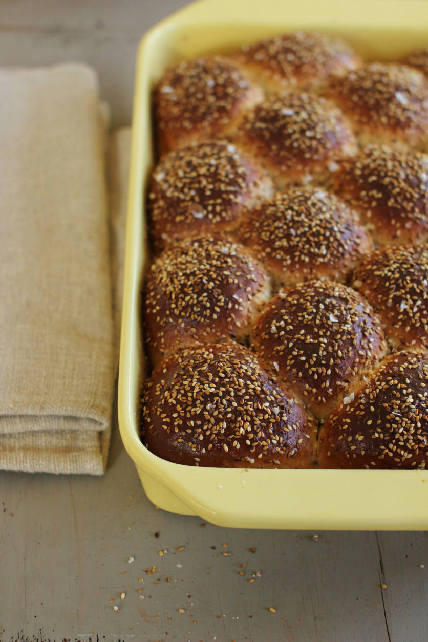 This Oct. 12, 2015, photo, shows sweet sesame dinner rolls in Concord, N.H. This recipe is a cross between an Italian scali bread, a light, tender bread crusted in sesame seeds, and a Portuguese sweet roll. (AP Photo/Matthew Mead)