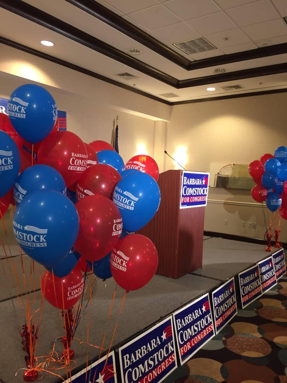 Republicans gather in Ashburn, Virginia, on Election Night 2016. (WTOP/Kyle Cooper)