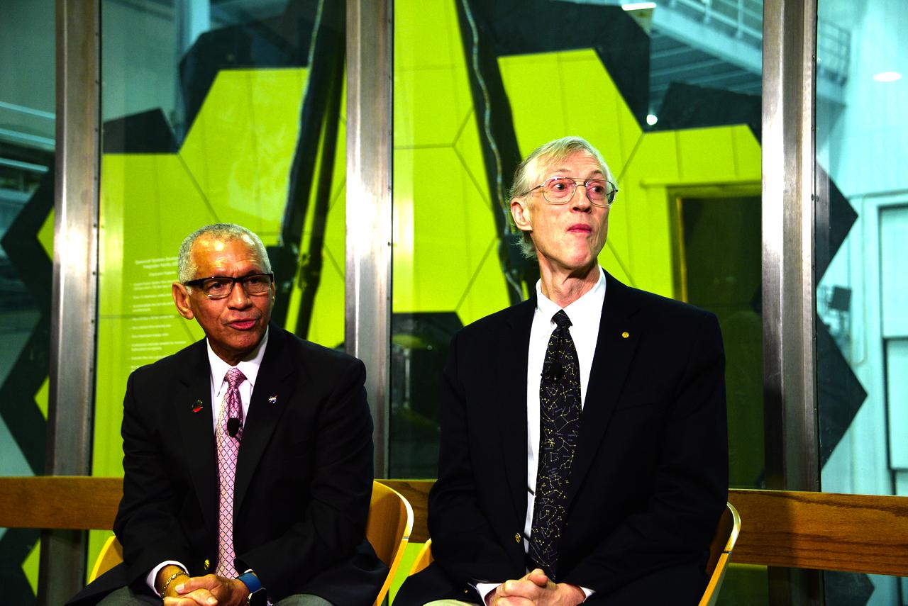 (L-R) NASA Administrator Charles Bolden and Nobel Prize winner Dr. John Mather discuss JWST at NASA Goddard Space Flight Center. (WTOP/Greg Redfern)