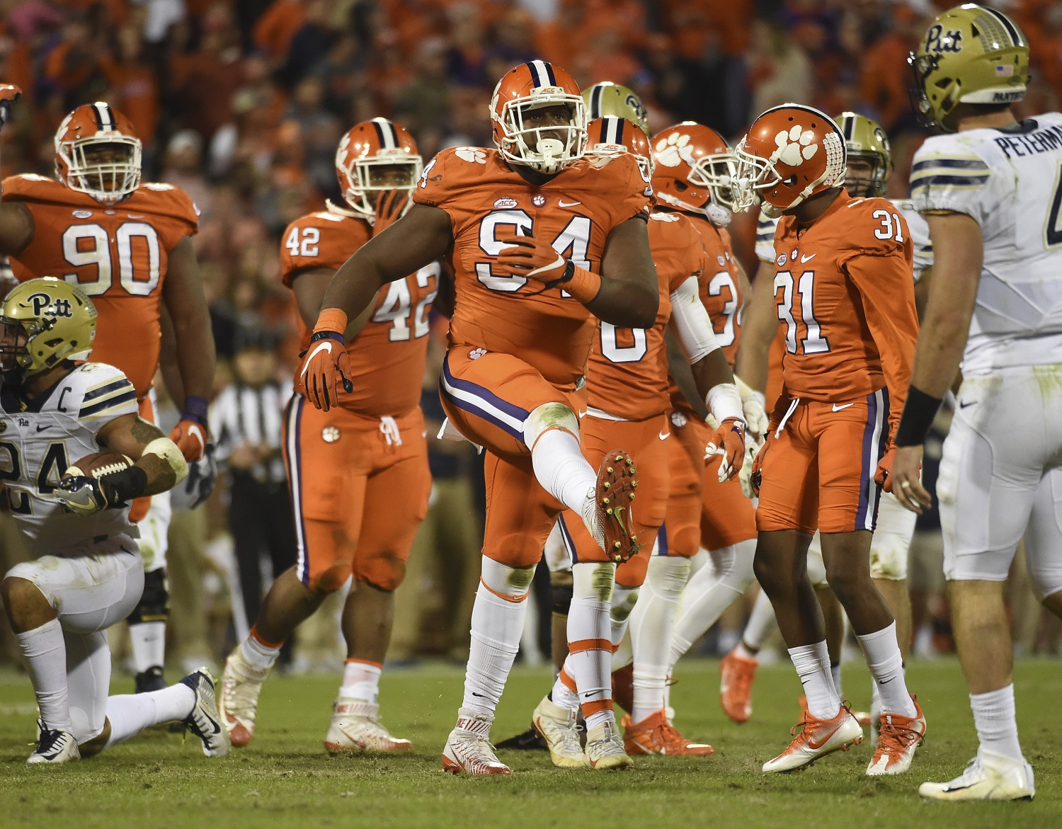 Clemson defensive tackle Carlos Watkins (94) reacts after a play against Pittsburgh during the second half of an NCAA college football game on Saturday, Nov. 12, 2016, in Clemson, S.C. (AP Photo/Rainier Ehrhardt)