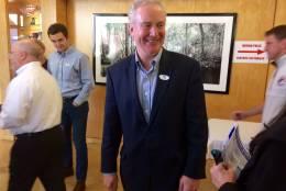 "Congressman Chris Van Hollen sports his ""I Voted"" sticker after voting in Kensington, Md. (WTOP/Nick Iannelli)"